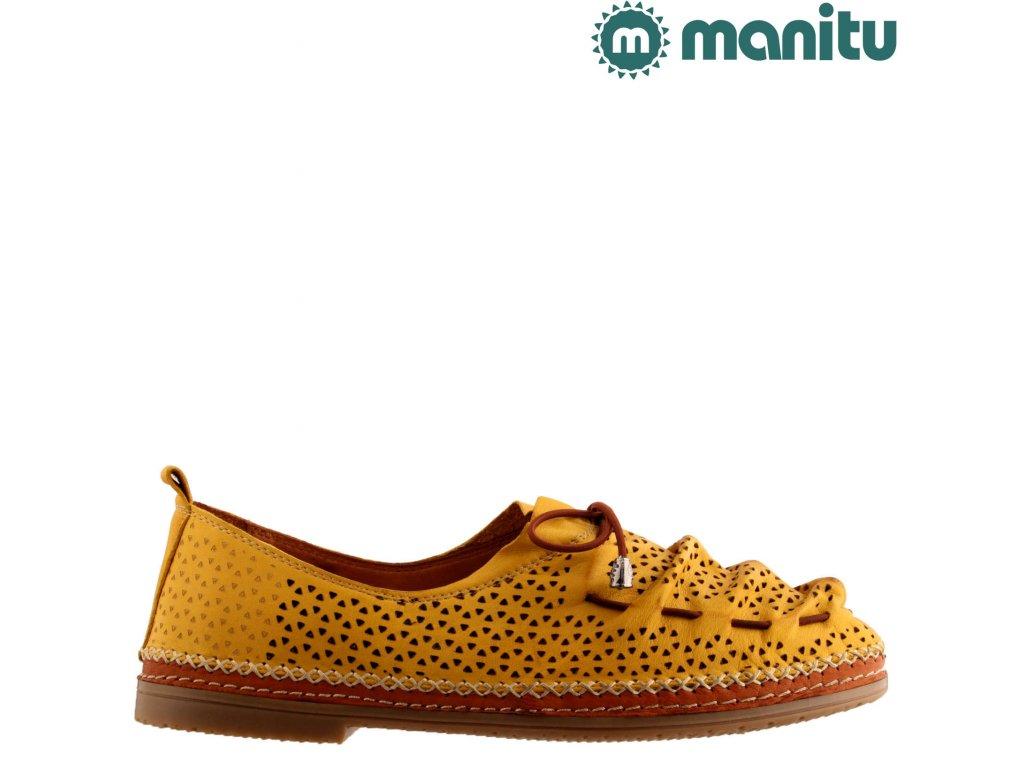 Žluté kožené dámské děrované mokasíny MANITU 840809