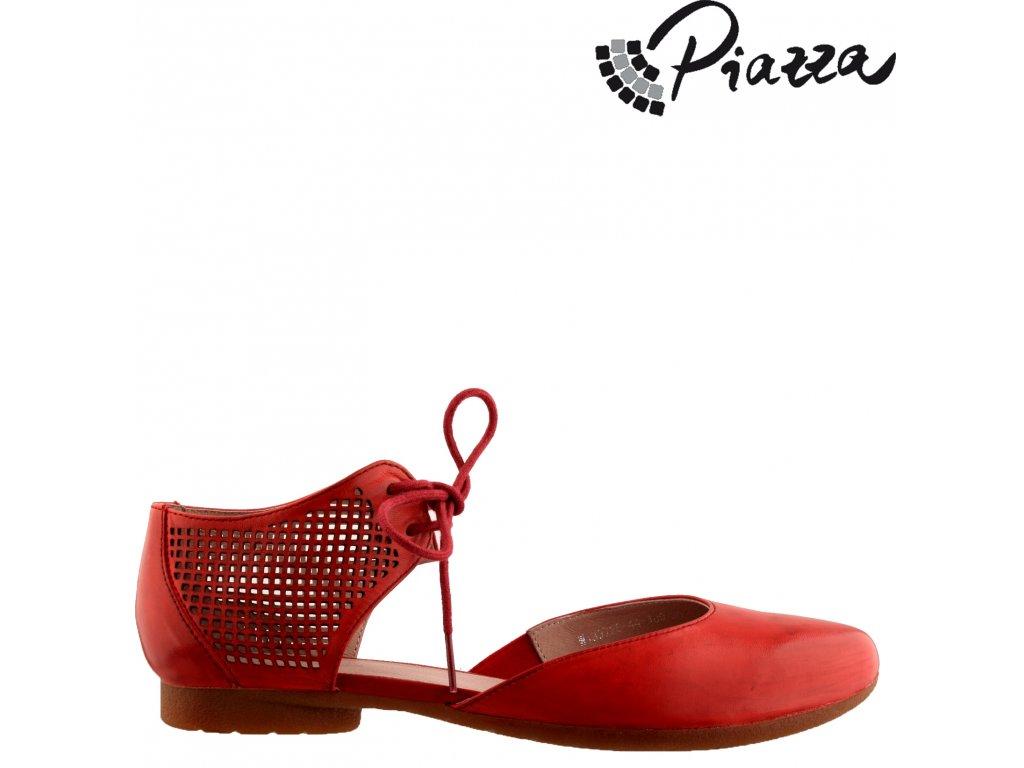 Dámské kožené červené lodičky sandály na nízkém podpatku se šněrováním PIAZZA sleva 840760