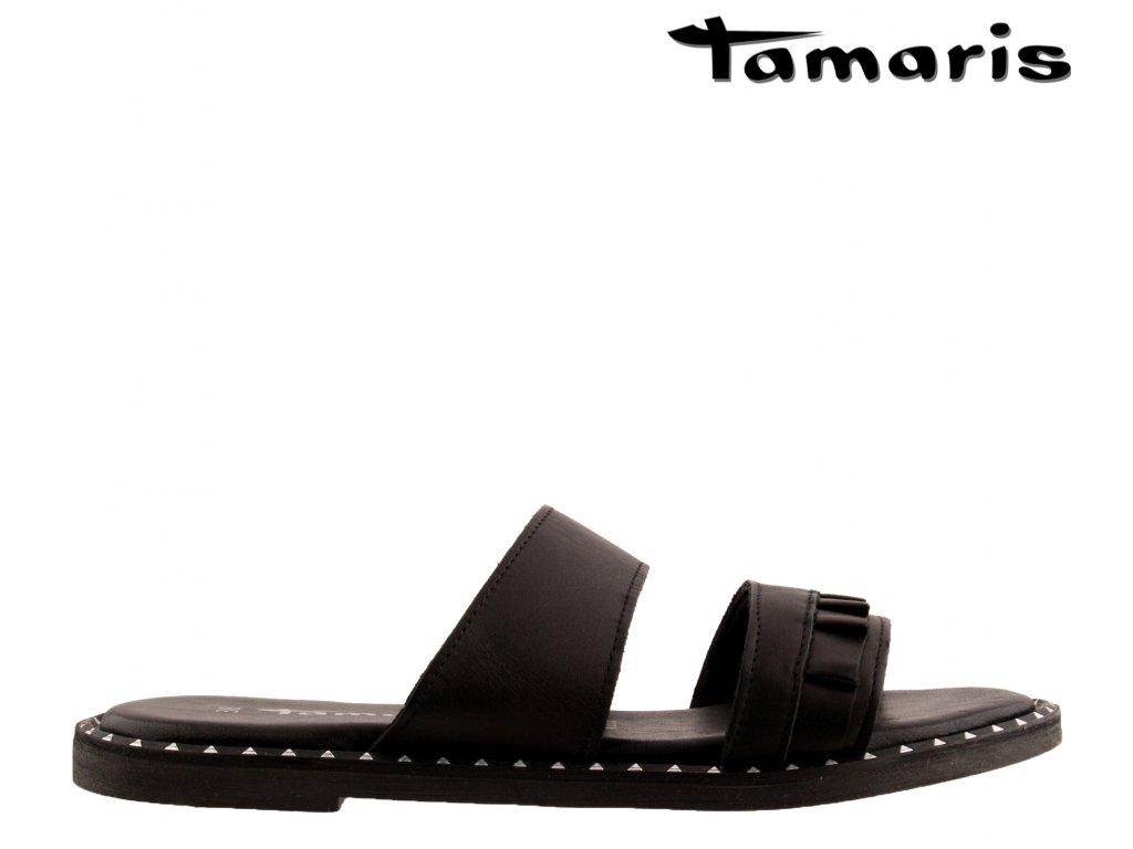 Páskové celo kožené dámské nazouváky na klínku Tamaris 1-1-27105-24 003 sleva 31308017