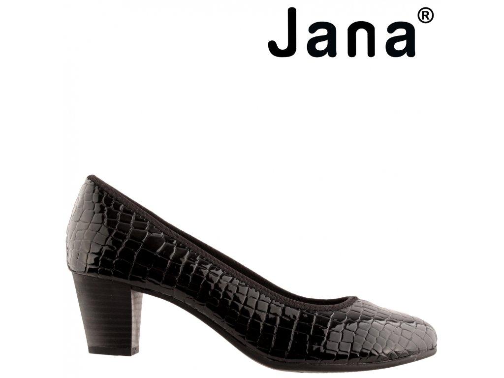 Černé lakované lodičky na nízkém podpatku Jana 8-22463-25 091