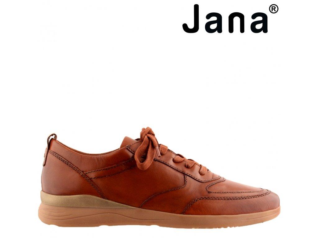 Kožené dámské hnědé šněrovací boty polobotky na klínku Sneakers JANA 8-23751-25 328