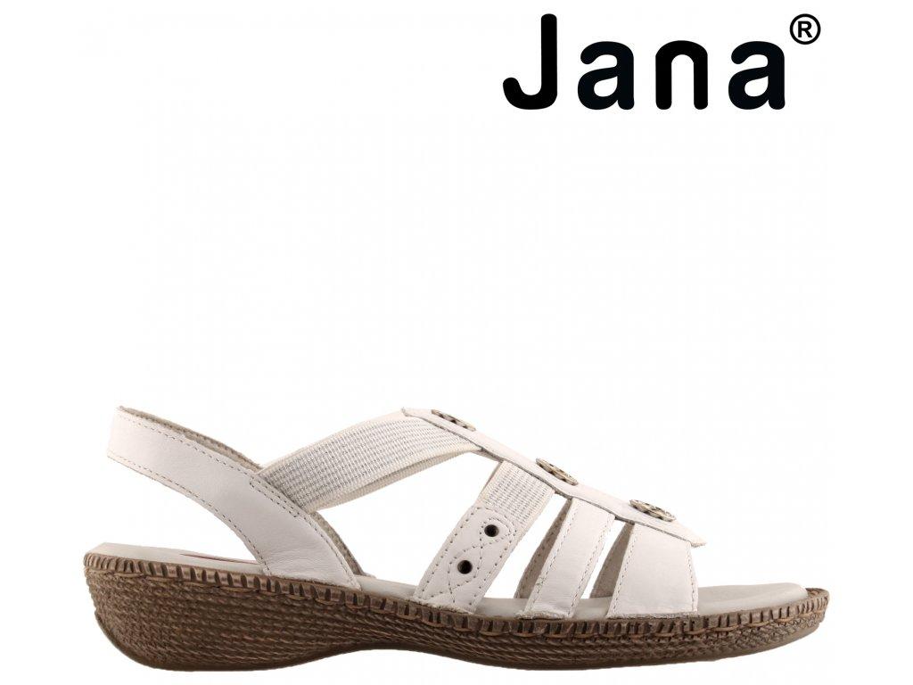 Kožené dámské bílé sandály na nízkém klínku s gumou JANA sleva 8-28108-24 100 Stélka H
