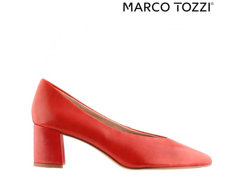 Kožené červené lodičky na podpatku Marco Tozzi 2-22435-24 533 výprodej