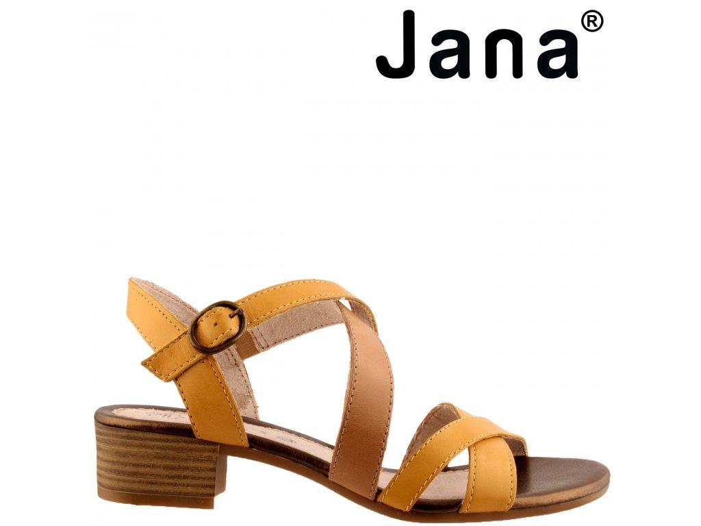 Kožené žluté hnědé páskové dámské sandály na podpatku JANA 8-28256-24 výprodej