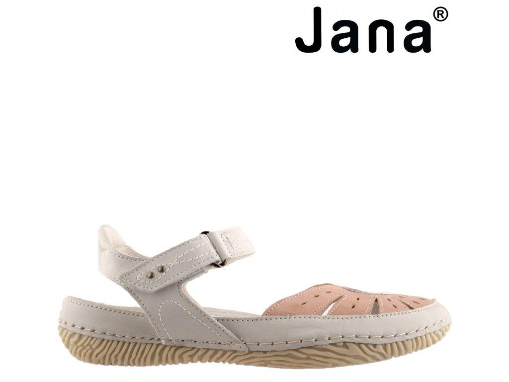 Kožené bílé růžové dámské sandály JANA 8-28110-24 259 anatomicky tvarovaná kožená stélka ŠÍŘE H