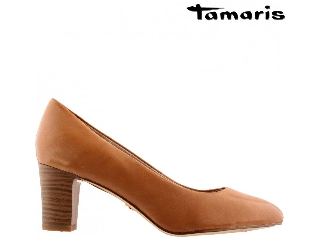 Kožené hnědé lodičky na podpatku TAMARIS 1-1-22435-24-325 sleva