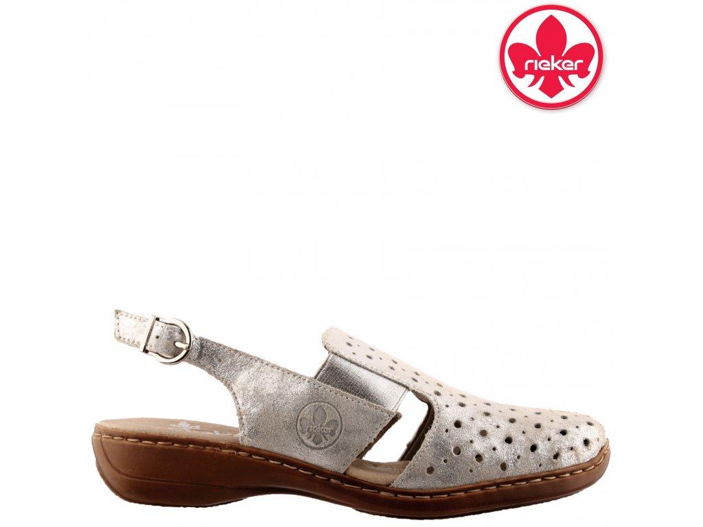 Dámské kožené děrované sandály na klínku 41392-90 Rieker Výprodej