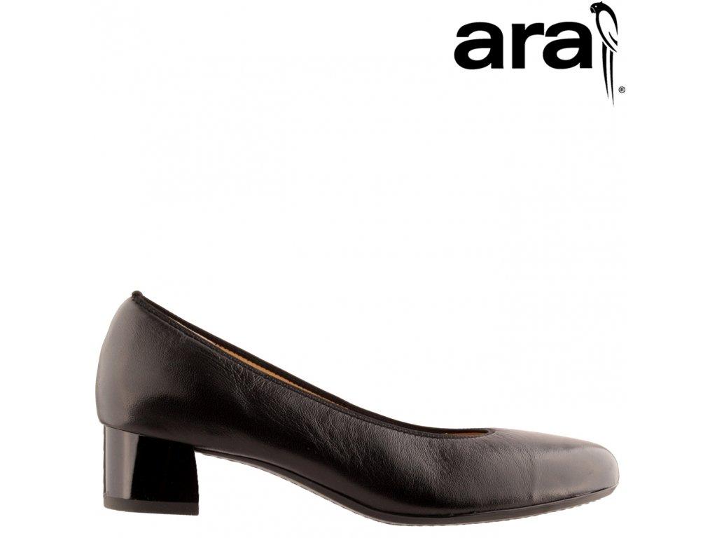 Celo Kožené černé lodičky na nízkém podpatku ARA 12-16601 sleva
