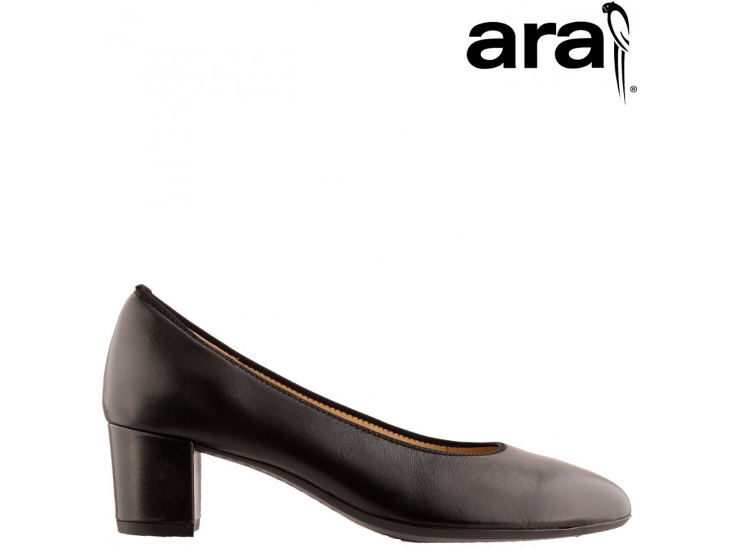 Celo Kožené černé lodičky na nízkém podpatku ARA 12-11486 výprodej
