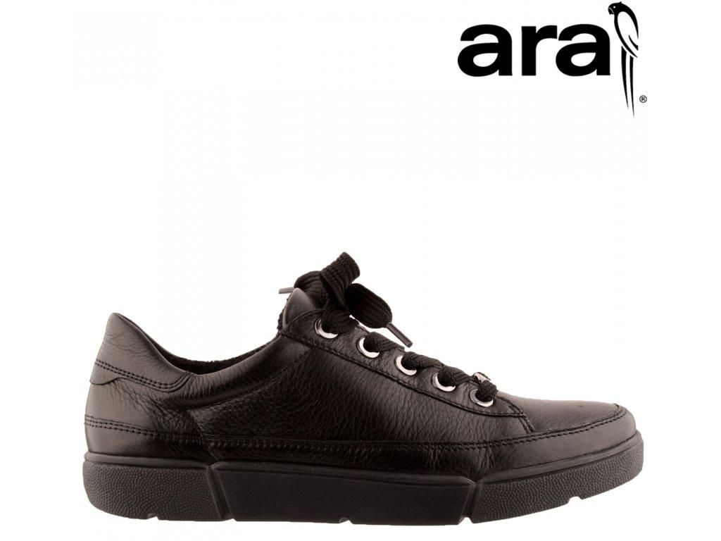 Dámské černé kožené vycházkové boty sneakers ARA 12-14404 Výprodej