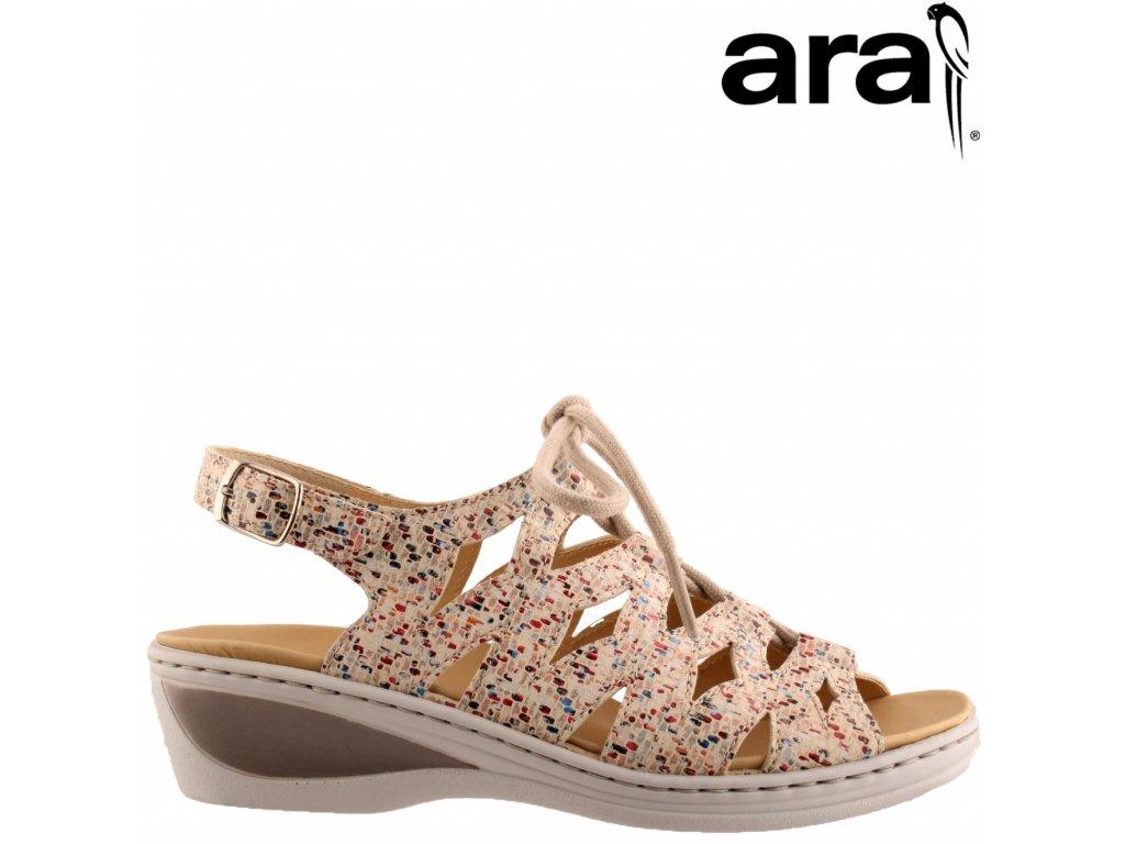 Kožené dámské zdravotní sandály na klínku ARA 12-39025 Anatomická stélka ŠÍŘE H výprodej