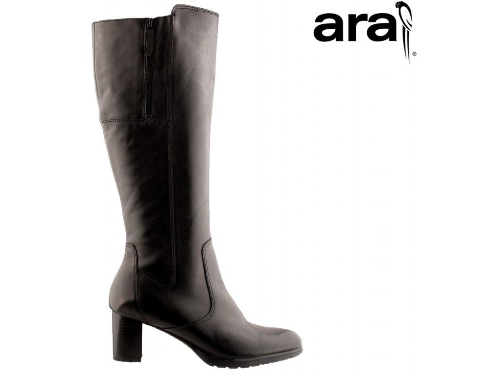 Kožené černé dámské kozačky na podpatku s gumou 12-13403 ARA