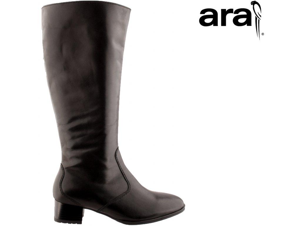 Kožené černé dámské kozačky na podpatku s gumou na široké XL lýtko 12-11877 ARA