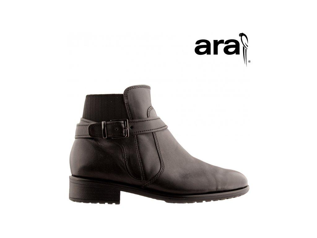 Černé kožené kotníkové kozačky se zipem a gumou na podpatku Ara 12-49524 Sleva