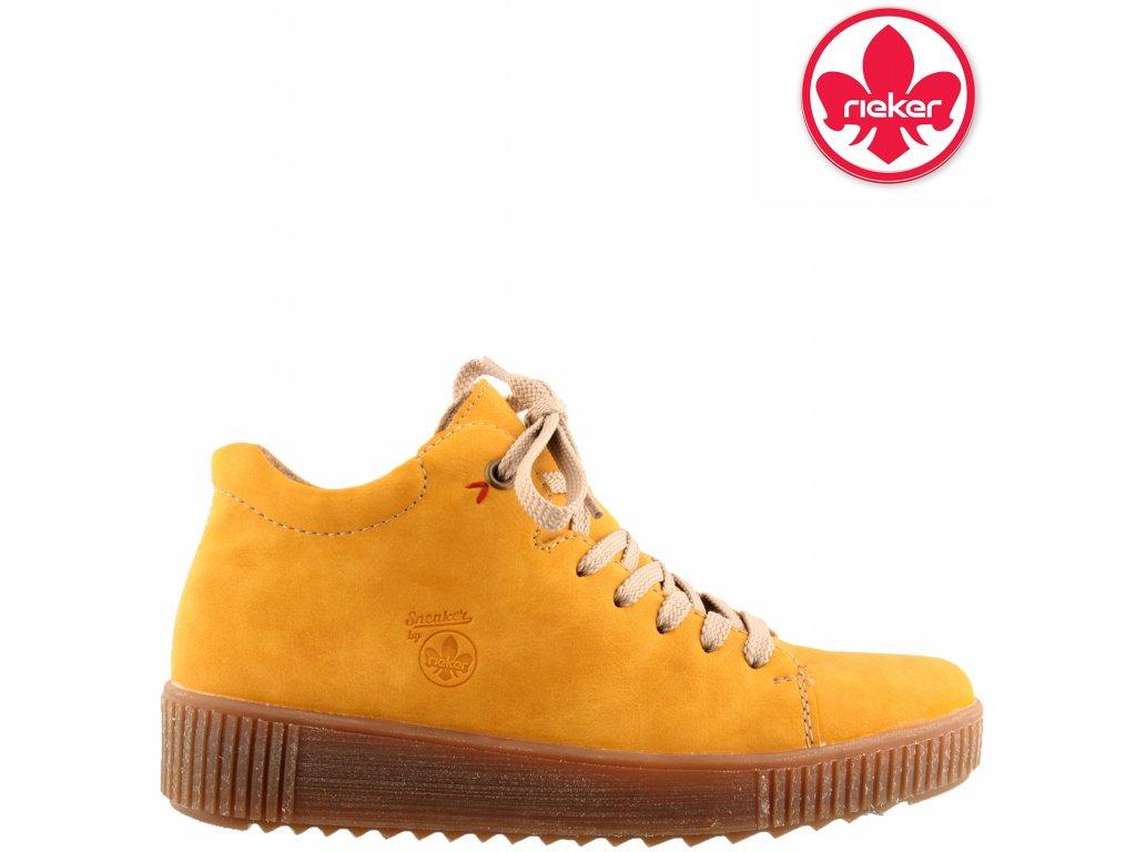 Dámské žluté kotníkové šněrovací boty sneaker´s Rieker M6440-68