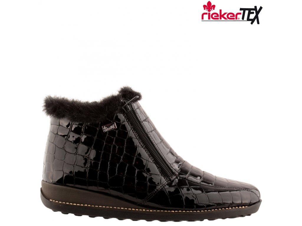 Černé kožené nepromokavé lakované kotníkové polokozačky na klínku Dva Zipy Rieker-Tex 44263-00