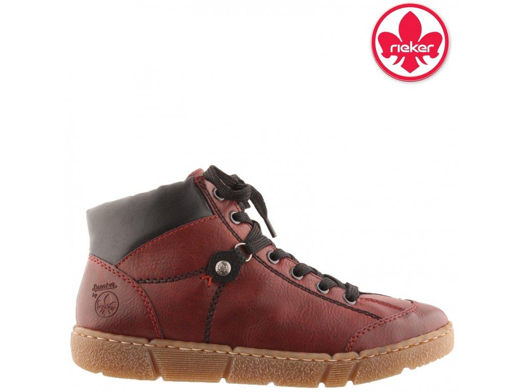 Zimní červené bordó šněrovací kotníkové boty farmářky na podpatku Rieker N1731-36
