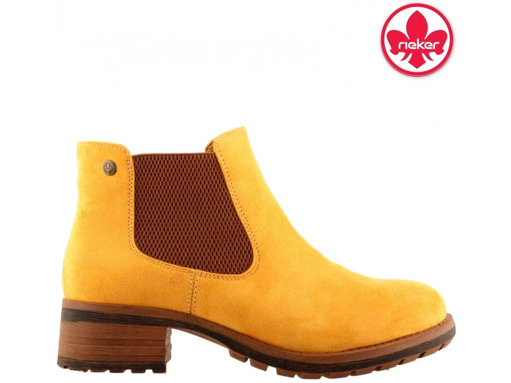 Žluté zateplené kotníkové kozačky s gumou Chealsea boots Rieker 96884-68