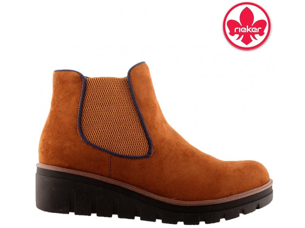Hnědé zateplené kotníkové kozačky s gumou Chealsea boots Rieker 99194-24