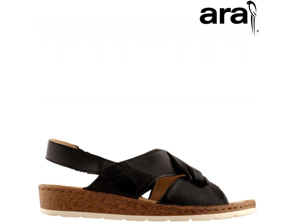 Dámské CELOkožené černé sandály ARA na nízkém klínku 12-16103 sleva