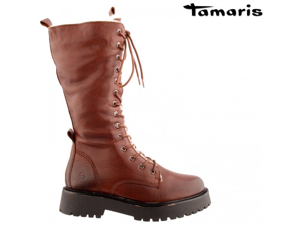 Zimní hnědé kožené šněrovací kozačky na podpatku Tamaris 1-26284-27 339
