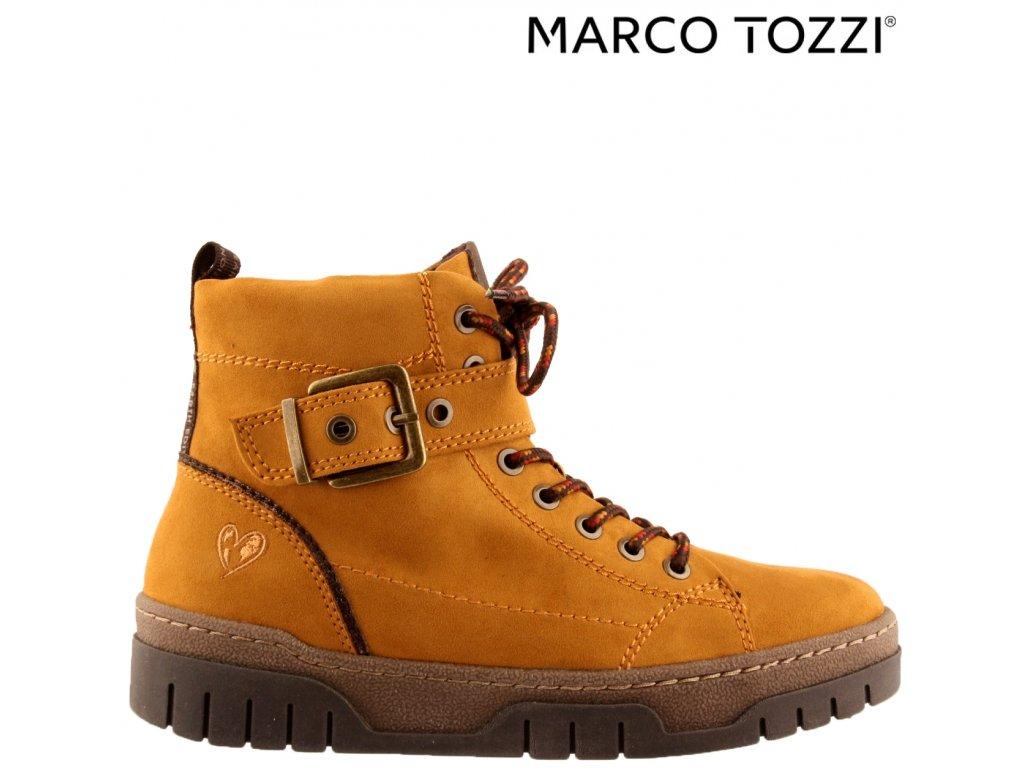 Zateplené dámské žluté kotníkové zimní šněrovací boty se zipem - Farmářky 2-25772-25 Marco Tozzi 75721513