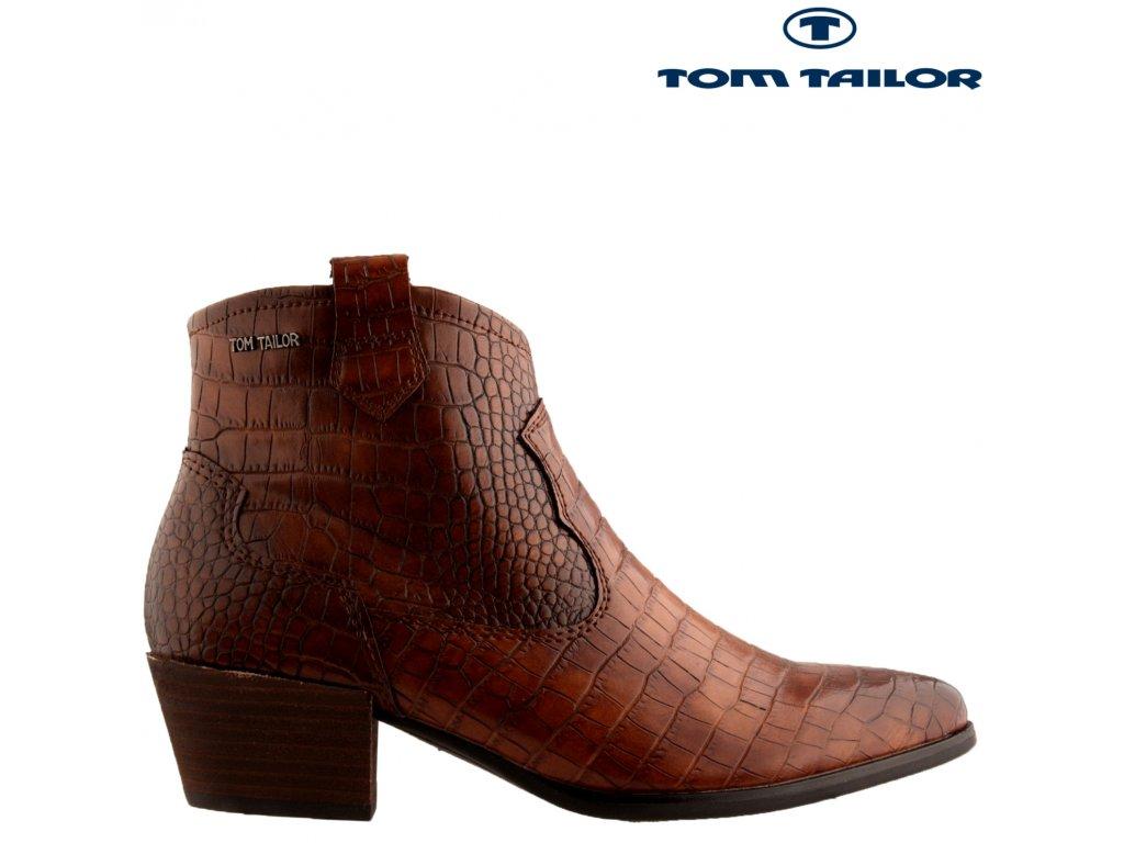 Dámské hnědé kotníkové kovbojky polokozačky na podpatku Tom Tailor 53085755 výprodej