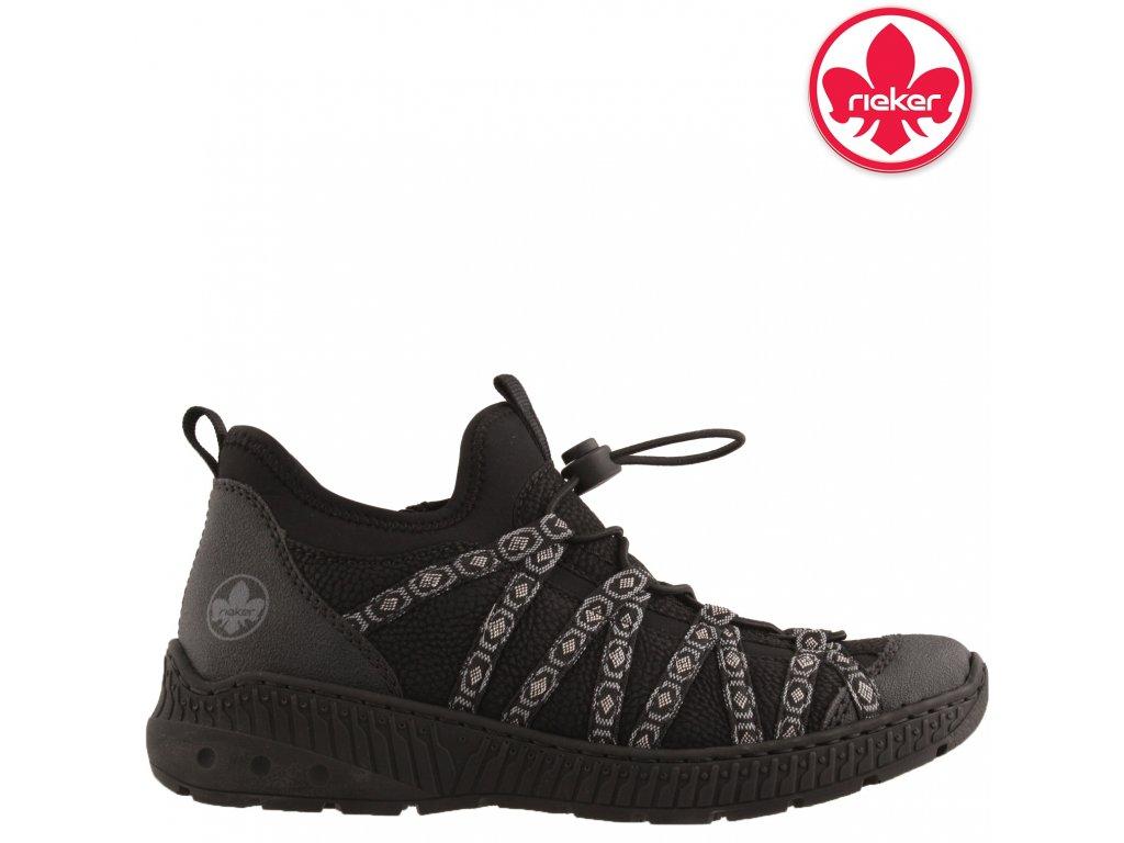 Dámské vycházkové sportovní boty se šněrováním a zipem Rieker N62N3 sleva 90338205