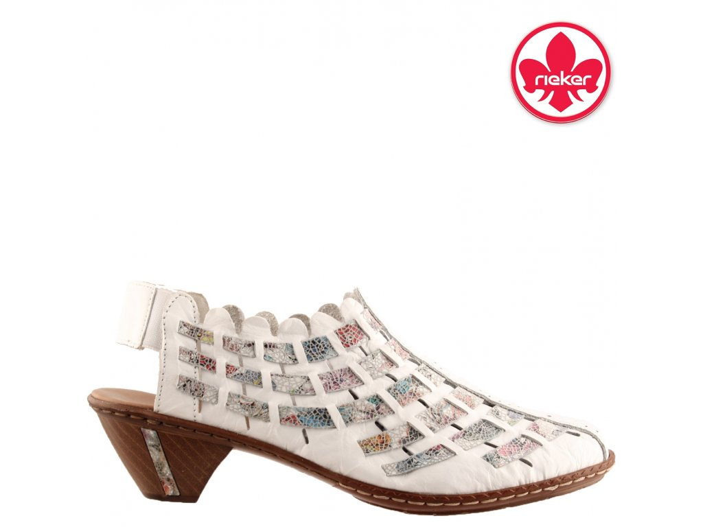Bílé kožené dámské boty jarní letní lodičky na podpatku RIEKER 46778-80