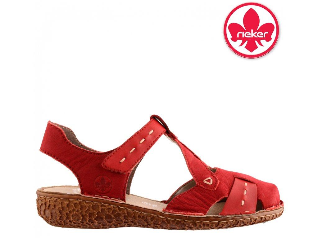 Červené dámské kožené sandály na klínku suchý zip M0972-33 RIEKER 2021