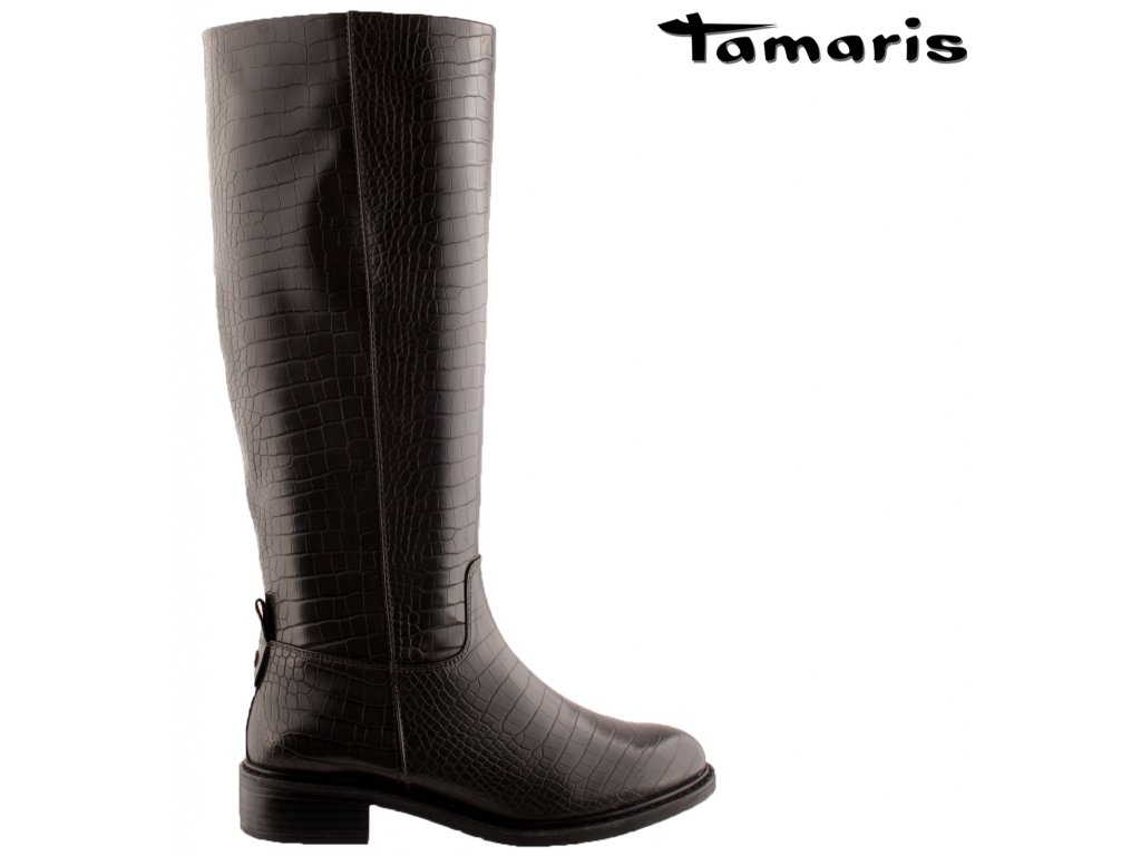 Černé kozačky na nízkém podpatku se zipem 1-25547-25 Tamaris výprodej 86790939