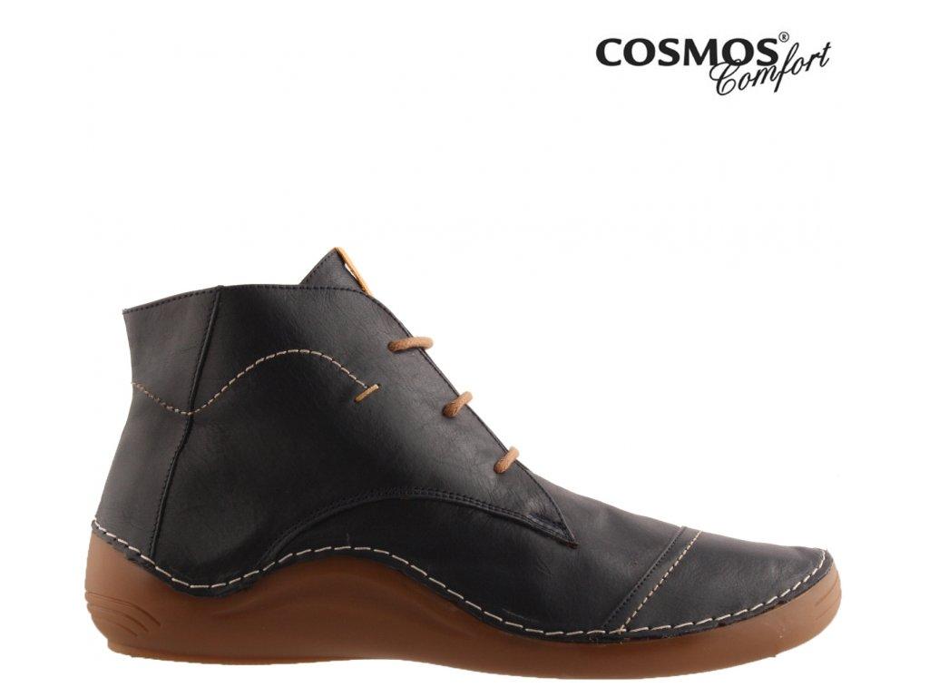 Celo-Kožené modré dámské sneakers boty se šněrováním a zipem COSMOS  Comfort 39067528