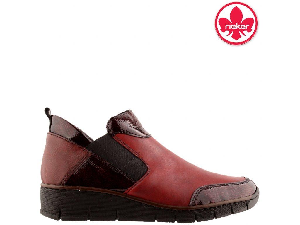 Dámské kožené bordó zateplené boty mokasíny na klínku Rieker 53786-36