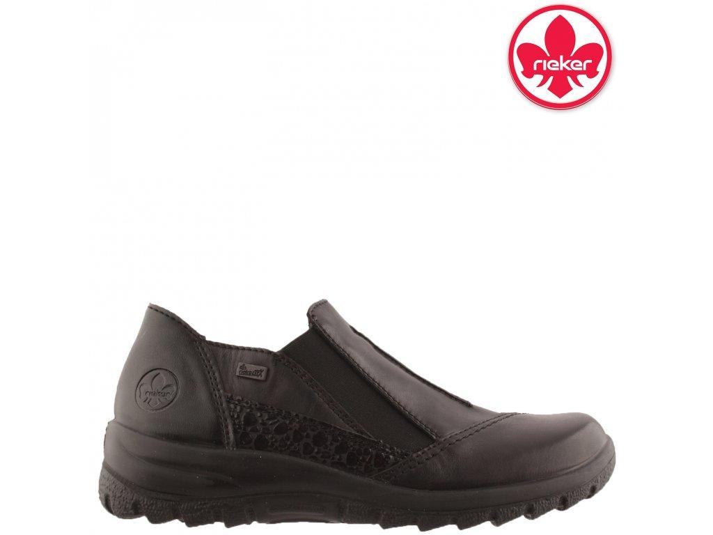Černé kožené polobotky Rieker L7178-00
