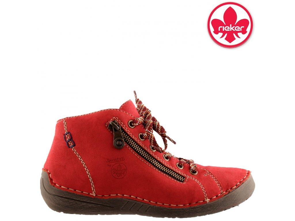 Dámské červené kotníkové šněrovací boty sneaker´s Rieker 52549-36