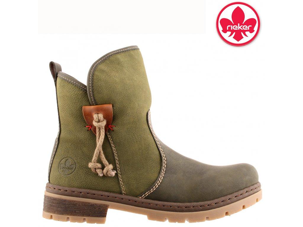 Dámské zelené kotníkové kozačky farmářky Rieker y7470-54 výprodej 53445649