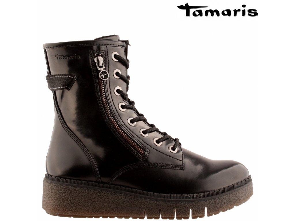 Černé lakované zimní farmářky na klínku se zipem na šněrování Tamaris 25900-25-014