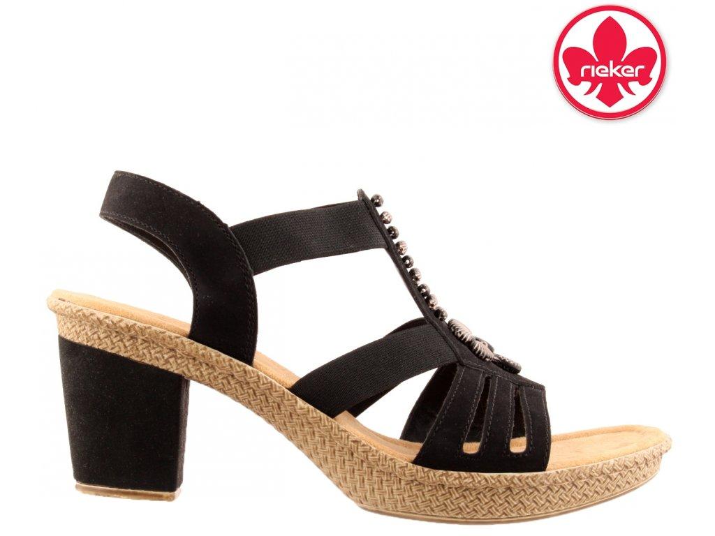 Černé páskové letní dámské sandály na podpatku RIEKER 66506-00 sleva 44880761