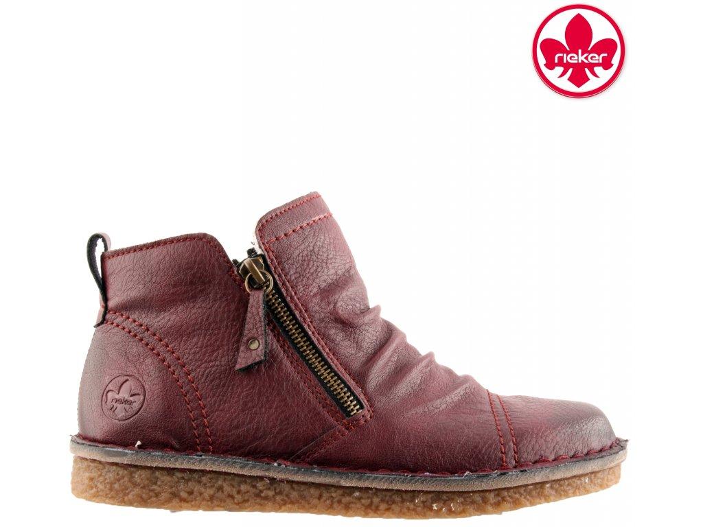 Zateplené Bordó vínové kotníkové boty na klínu Rieker 70952-35