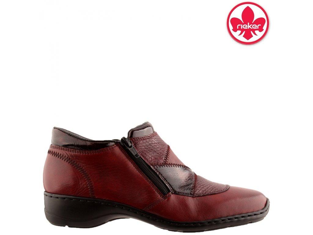 Kožené bordó kotníkové boty na nízkém klínku dva zipy 58387-35