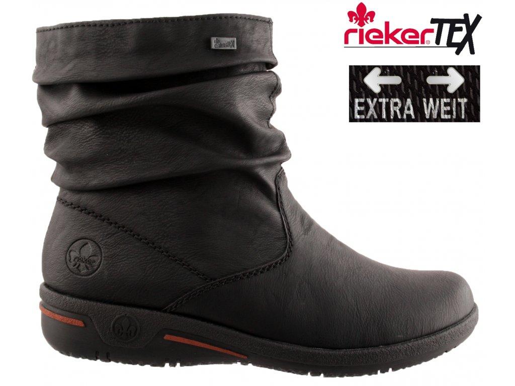 Nepromokavé černé polokozačky RiekerTex Z1693-01