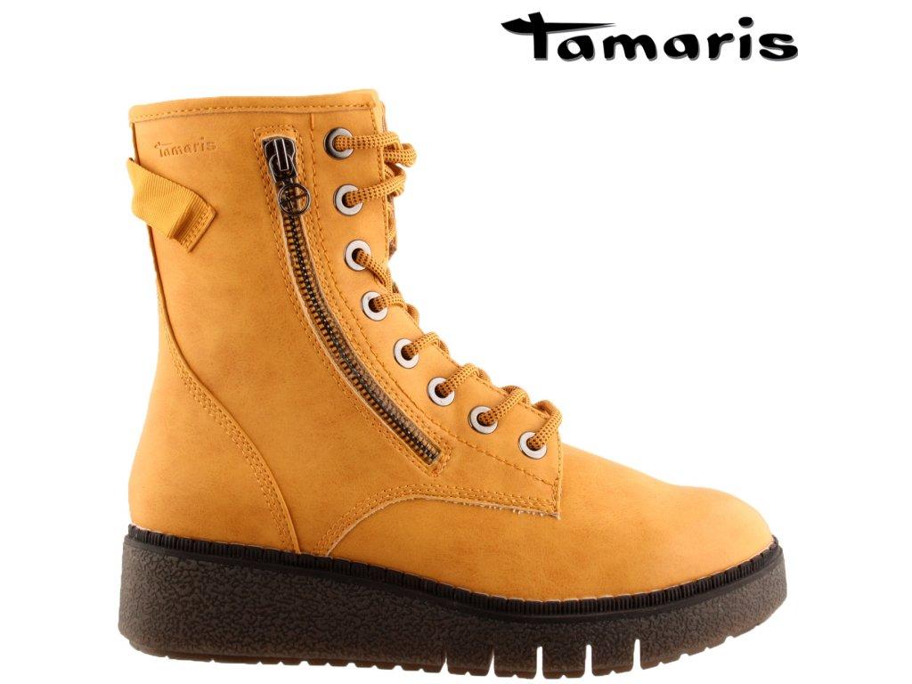 Žluté zimní šněrovací kozačky na klínku Tamaris 25900-25-640