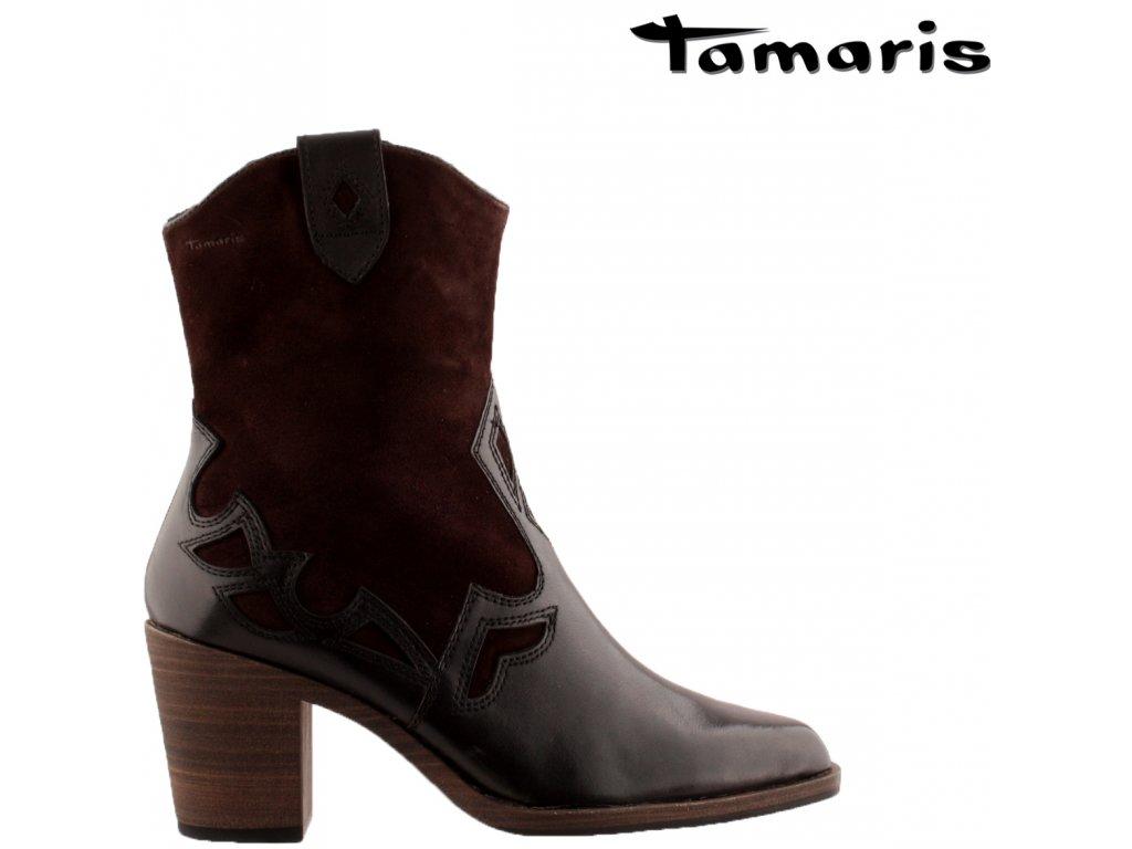 Hnědé kožené kozačky kovbojky Tamaris 25068-25