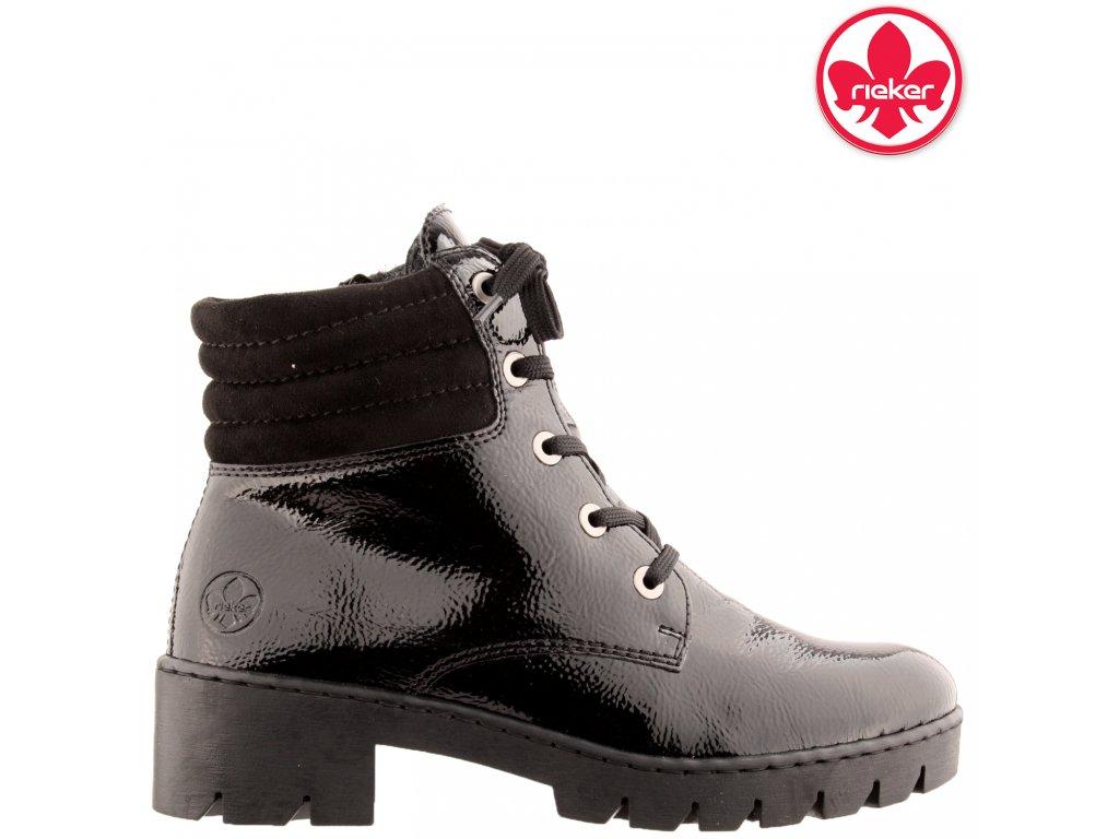 Černé dámské kotníkové lakované farmářky X5704-00 Rieker 962379