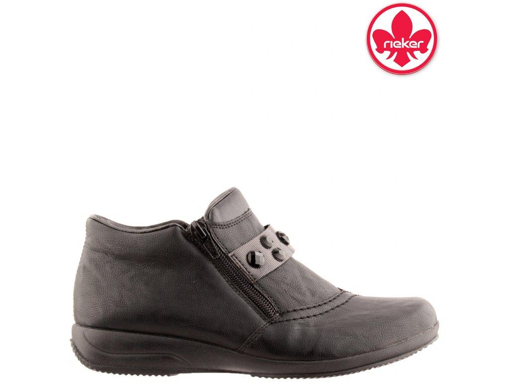 Černé dámské kotníkové boty Rieker L3663-00 sleva 991306