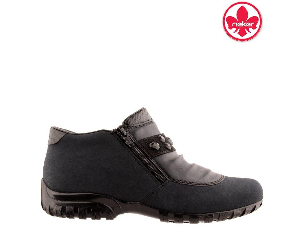 Modré dámské kotníkové boty Rieker L46A1-00 sleva 991296