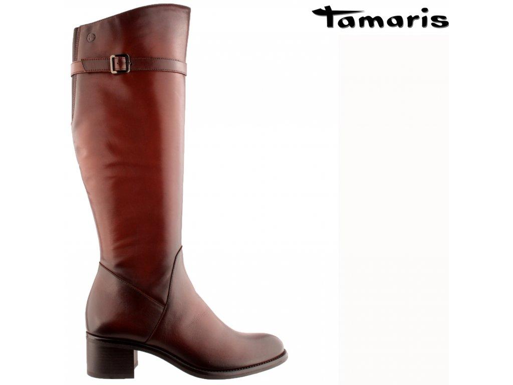 Dámské tmavě hnědé kožené kozačky na podpatku Tamaris 1-25531-27 361