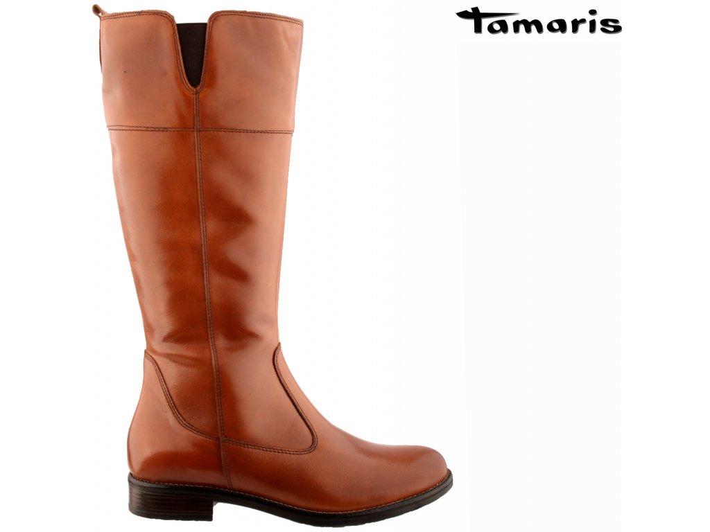 Dámské hnědé kožené kozačky na podpatku Tamaris 1-25542-27 455