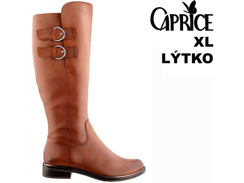 Dámské hnědé kožené kozačky na podpatku širší lýtko Caprice 9-25530-27 303