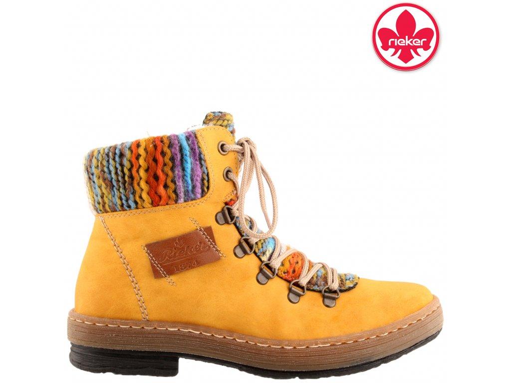 Dámská kotníková obuv RIEKER Z6743-68 žlutá